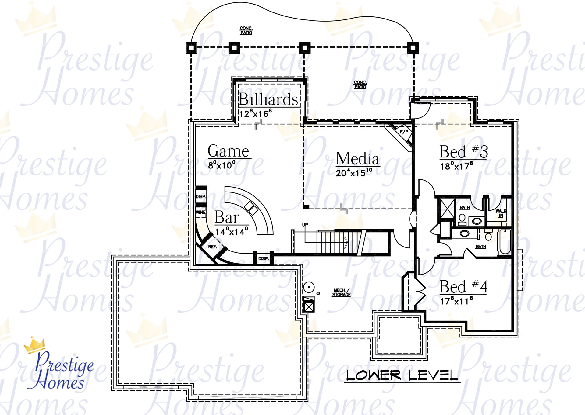 Prestige Homes - Floor Plan - Bella 3 Bedroom Lower