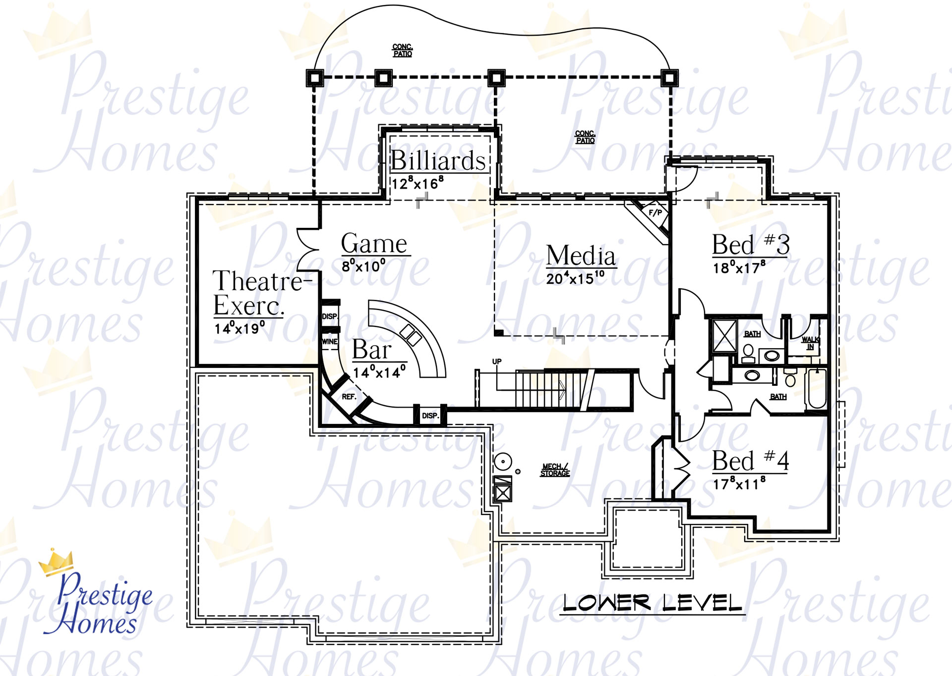 Prestige Homes - Floor Plan - Bella 4 Bedroom Lower