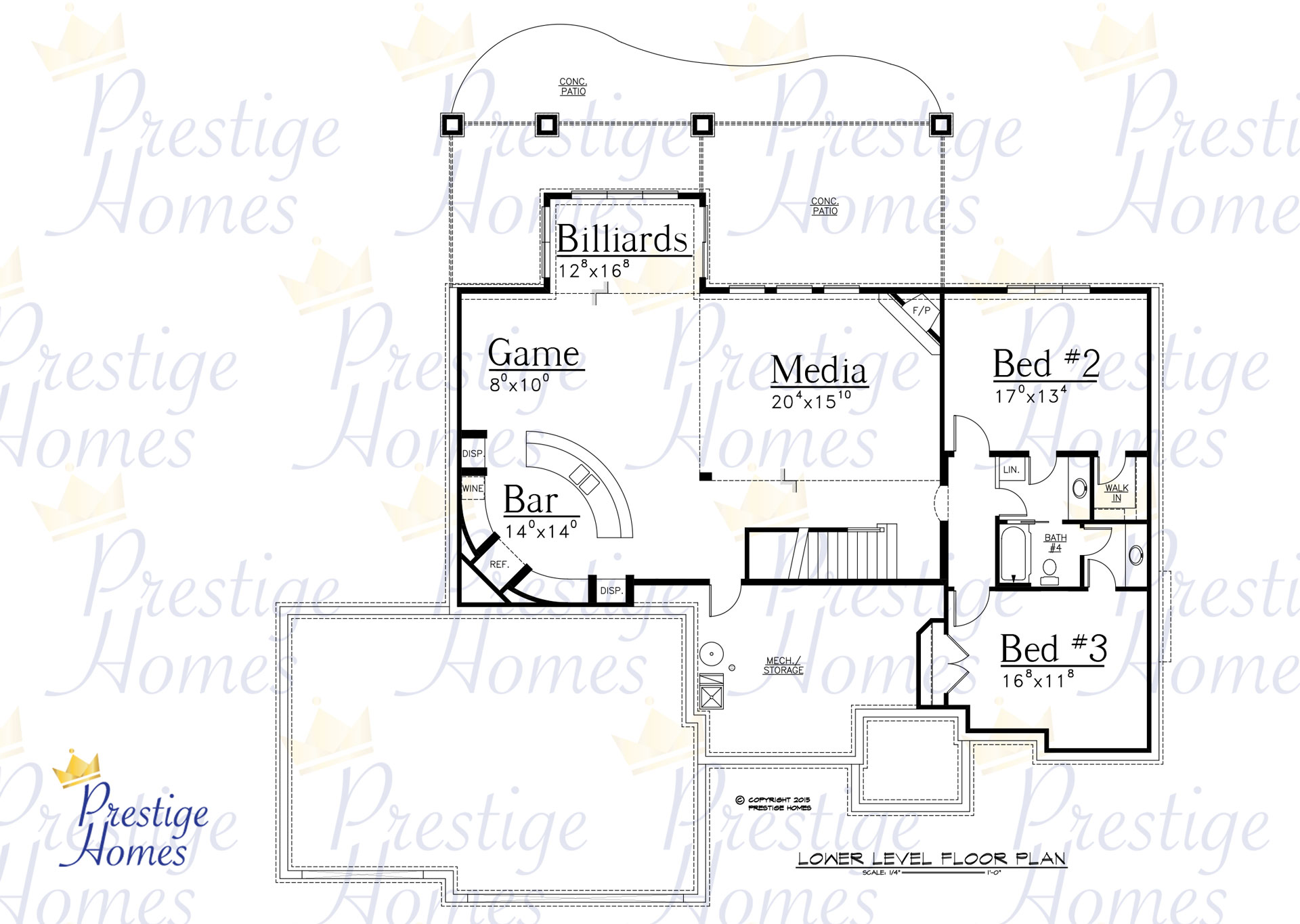 Prestige Homes - Floor Plan - Bella Reduced Footage - Lower