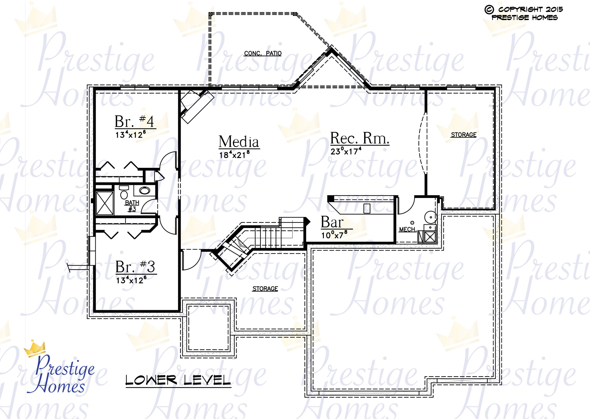 Prestige Homes - Floor Plan - Kelsey 2 Bed - Lower